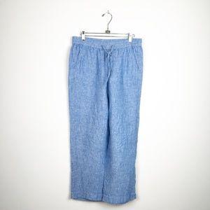 100% Linen Talbots Flowy Blue Pants 6P